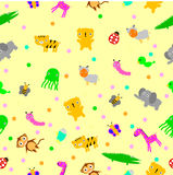 For Baby Cloth Motif, seamless Cute Baby Animals at yellow background Royalty Free Stock Images