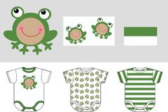 Baby clothes. A set of three baby garment with print Royalty Free Stock Photos