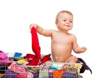 Baby with clothes Stock Image