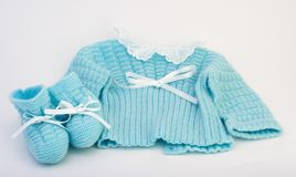 Baby clothes. Of a new born boy royalty free stock images