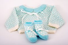Baby clothes. And shoes stock photo