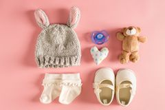Baby clothes and accessories stock photos