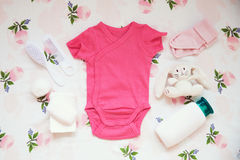 Free Baby Clothes And Necessities Fabric Background. Royalty Free Stock Image - 97455206