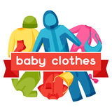 Baby clothes. Background with clothing items for Royalty Free Stock Images