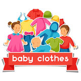 Baby clothes. Background with clothing items for Stock Photo