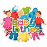 Baby clothes. Background with clothing items for Stock Image
