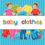 Baby clothes. Background with clothing items for Royalty Free Stock Image