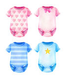 Baby clothes. Boys and girls clothes. Watercolor illustration Stock Images