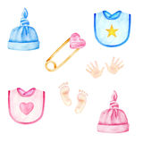 Baby clothes. Boys and girls hats, bibs. Kids accessories. Watercolor illustration Royalty Free Stock Photo