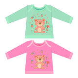 Baby clothes with cartoon animals. Sketchy little pink bear Royalty Free Stock Photography