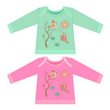 Baby clothes with cartoon animals. Sketchy little pink birds Royalty Free Stock Photos