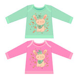 Baby clothes with cartoon animals. Sketchy little pink Bunny Royalty Free Stock Photos