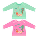 Baby clothes with cartoon animals. Sketchy little pink cow Stock Images