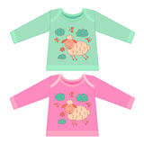 Baby clothes with cartoon animals. Sketchy little pink cute lamb Stock Photos