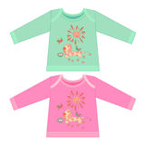 Baby clothes with cartoon animals. Sketchy little pink dog Royalty Free Stock Photos