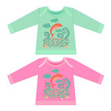 Baby clothes with cartoon animals. Sketchy little pink dolphin Stock Photography