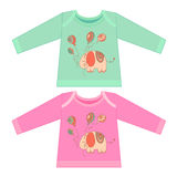 Baby clothes with cartoon animals. Sketchy little pink elephant Royalty Free Stock Image