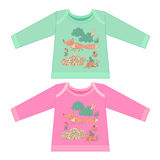 Baby clothes with cartoon animals. Sketchy little pink fox Stock Photo
