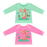 Baby clothes with cartoon animals. Sketchy little pink giraffe Stock Photography