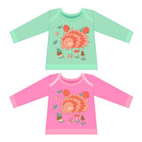 Baby clothes with cartoon animals. Sketchy little pink hedgehog Stock Photo