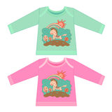 Baby clothes with cartoon animals. Sketchy little pink horse Royalty Free Stock Image