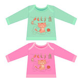 Baby clothes with cartoon animals. Sketchy little pink kitten Stock Image
