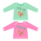 Baby clothes with cartoon animals. Sketchy little pink monkey Royalty Free Stock Photography