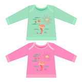 Baby clothes with cartoon animals. Sketchy little pink ostrich Royalty Free Stock Photography