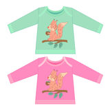 Baby clothes with cartoon animals. Sketchy little pink squirrel Royalty Free Stock Photography