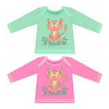 Baby clothes with cartoon animals. Sketchy little pink tiger Royalty Free Stock Images