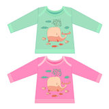 Baby clothes with cartoon animals. Sketchy little pink whale. With a fish swims in the sea in cartoon style Royalty Free Stock Image