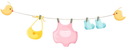 baby clothes on a clothesline Royalty Free Stock Photos