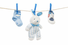 Baby clothes on clothesline Royalty Free Stock Image