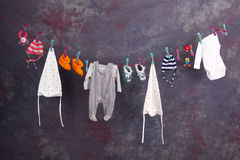 Baby Clothes. On a clothesline royalty free stock photography