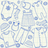 Baby clothes doodles Stock Photos