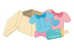 Baby clothes with feeding bottle. Baby clothes with heart on it, feeding bottle and bow next to a box vector illustration graphic design stock illustration