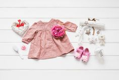 Baby clothes flat lay royalty free stock image