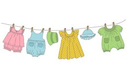 Baby clothes hang on the clothesline. Things are dried on clothespins after washing. Vector illustration Royalty Free Stock Photo