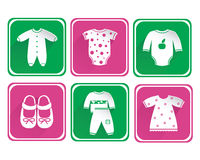 Baby clothes icon set Royalty Free Stock Images