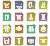 Baby clothes icon set. Baby clothes  icons for user interface design Royalty Free Stock Images