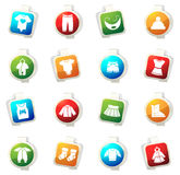 Baby clothes icons set Stock Images