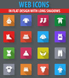 Baby clothes icons set. Baby clothes web icons in flat design with long shadows Stock Images