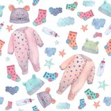 Baby clothes illustrations in a seamless pattern. Painted in watercolor. stock photos