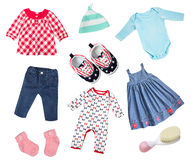 Baby clothes isolated collage. Stock Images