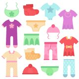 Baby clothes. Kids colorful and bright bodysuits and overalls for boys and girls. Vector illustration. Set icons vector illustration