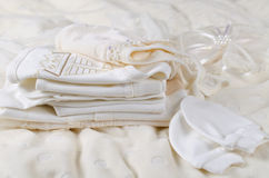 Baby clothes. Layette for newborn baby. Baby clothes stock images