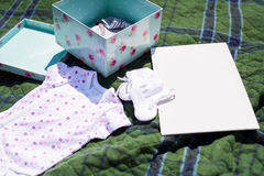 Baby clothes on nature. Place for text Stock Photo