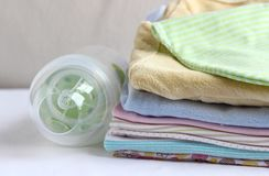 Baby clothes for newborn. In pink colors. Stock Photography
