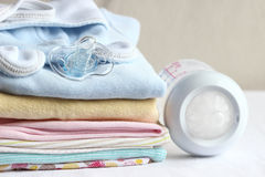 Baby clothes for newborn. In pink colors. Stock Images