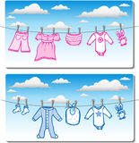 Baby Clothes On Clothes Line Stock Photo